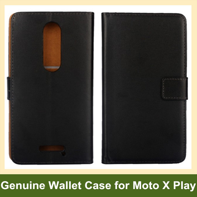 New Arrive Genuine Leather Wallet Flip Cover Case for Motorola Moto X Play XT1562 with Stand Holder Free Shipping