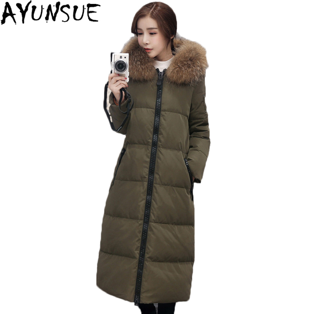 ab3908dab29 AYUNSUE Down Coat Women Winter jackets Over Knee Maxi Long Coats Duck Down  Jacket Female Parkas Faux Fur Hooded Overcoat LX163