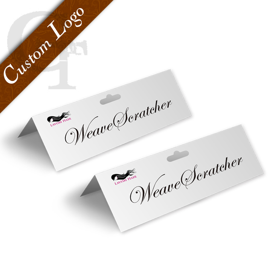 Custom logo brand name hair extension cardboard labels, plastic bags paper holders, display packaging card,paper hanging cards packaging and labeling