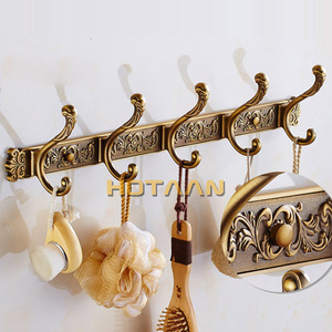 Image 2 - Robe Hooks Luxury Bathroom Wall Carving Antique Robe Hooks 5 Row Hook Coat Hanger Door Hooks For Bathroom Accessories YT 3012