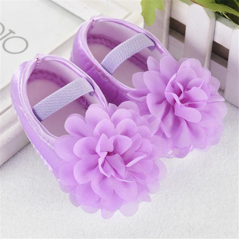 LONSANT First Walkers Fashion Toddler Baby Girl Shoes Chiffon Flower Elastic Band Newborn Walking Shoes Dropshipping Wholesale