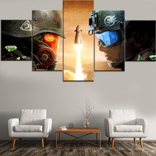 Top-Rated HD Printing 5 Pieces Canvas Painting Games Command Conquer Rivals Type Poster Home Decor Living Room Or Bedroom Framed