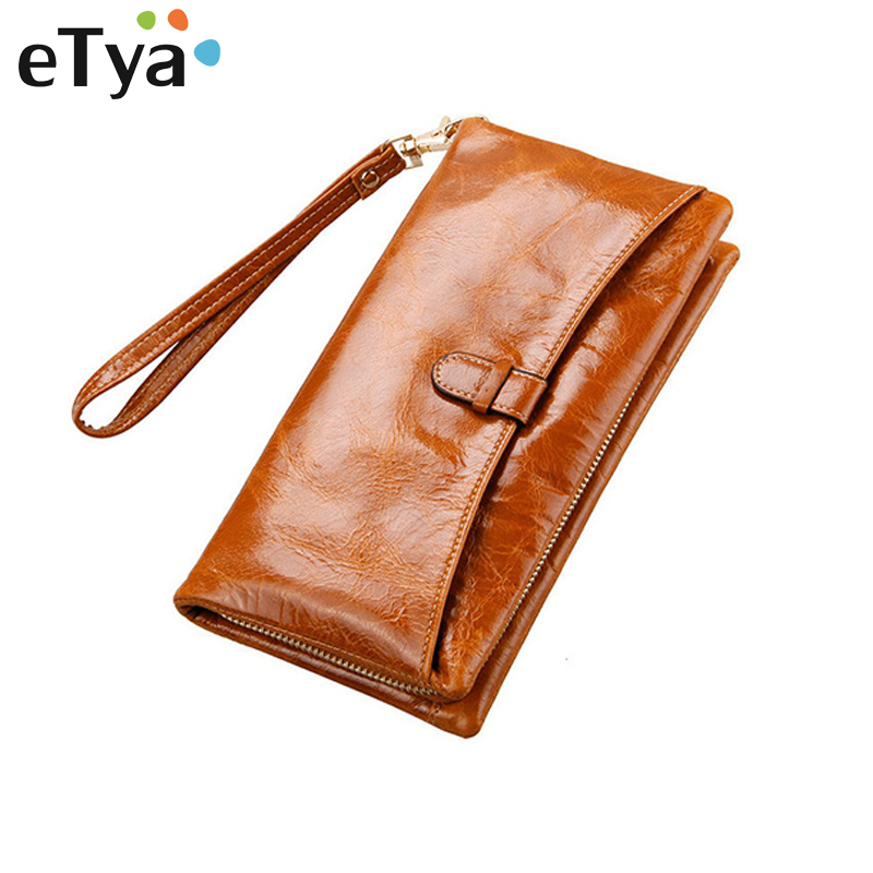 купить eTya Fashion Women's Genuine Leather Wallet Female Vintage Card Holder Credit Card Coin Purse Wallets Clutch long Wallet handbag недорого