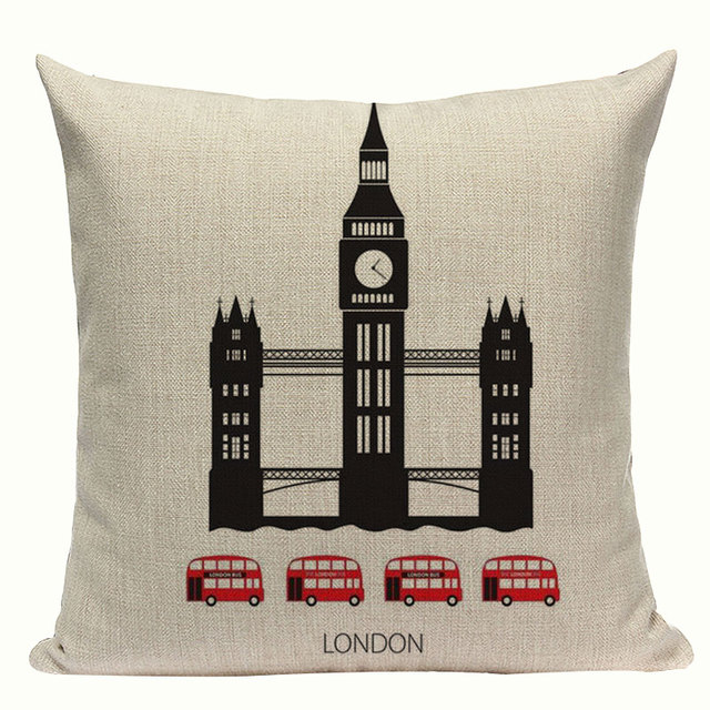 Retro Style Cities Sights Cushion Cover