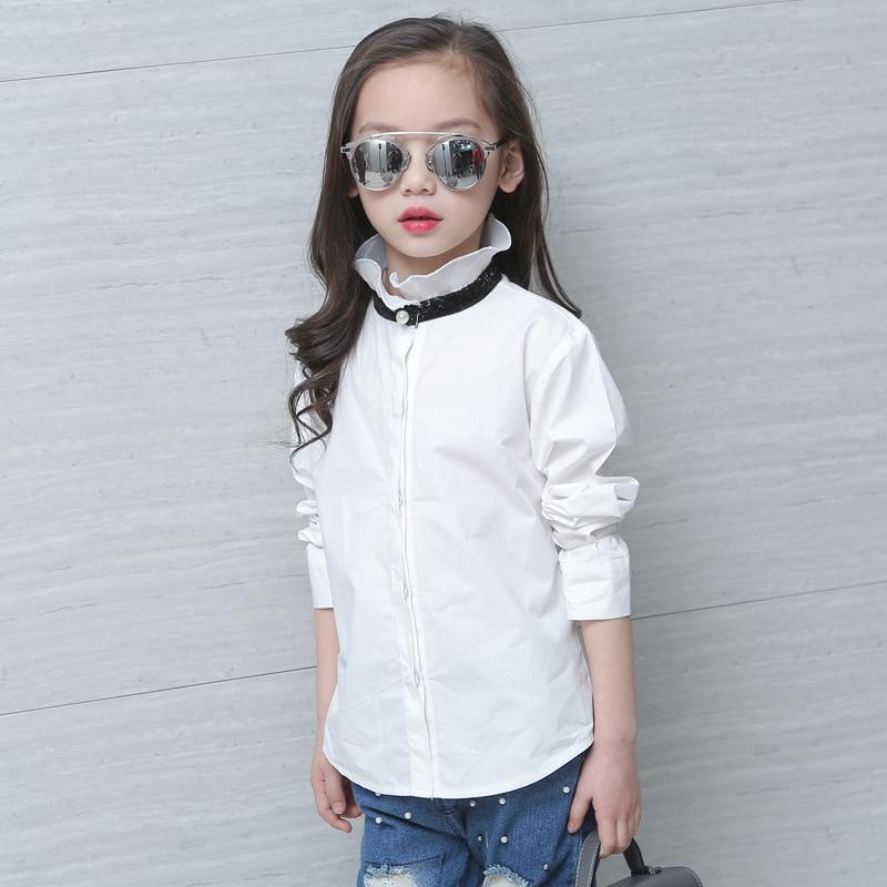 Fashion Children Blouses White Kids Girls School Uniform Cotton Format Teenage Baby Clothes Full Sleeve Girls