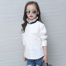 Fashion Children Blouses White Kids Girls School Uniform Cotton Format Teenage Baby Clothes Full Sleeve Girls Top 3 5 7 9 11 13T