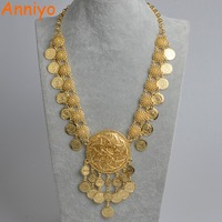 Anniyo 84 cm (33 pulgadas) Longitud Collares para Las Mujeres Dubai de La Moneda, Moneda Árabe Islam Regalo de Boda de Lujo/Oriente medio/African Jewelry #071406