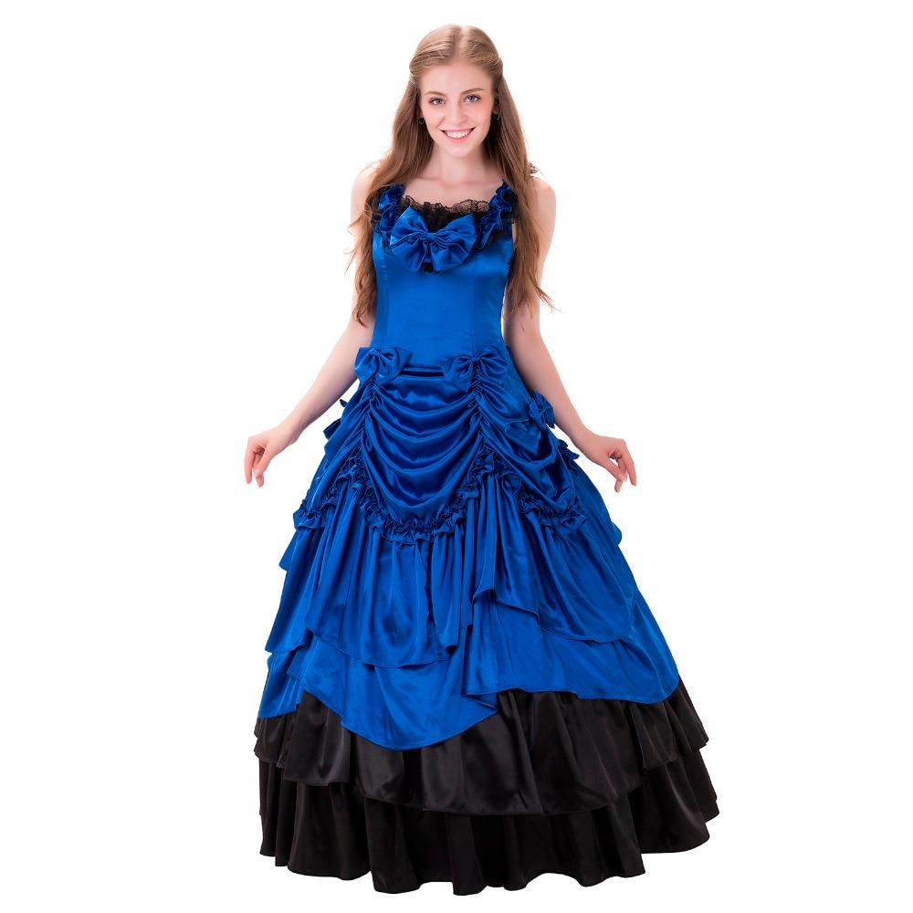 Janpanese Blue Gothic Lolita Dress Sleeveless Lace Long Sweet Lolita Dress Ball Gown Halloween Carnival Cosplay Costume