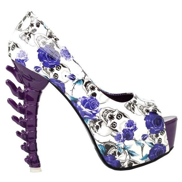 LF80629 Purple Skull Rose Peeptoe Platform Bone Heel Club Pumps-in ...