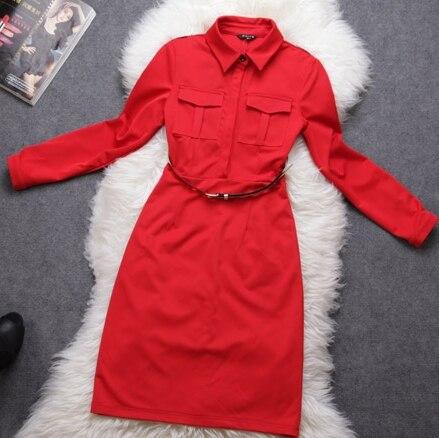 new winter dress with belt epaulette three quarter sleeve one-piece dress plus size dress