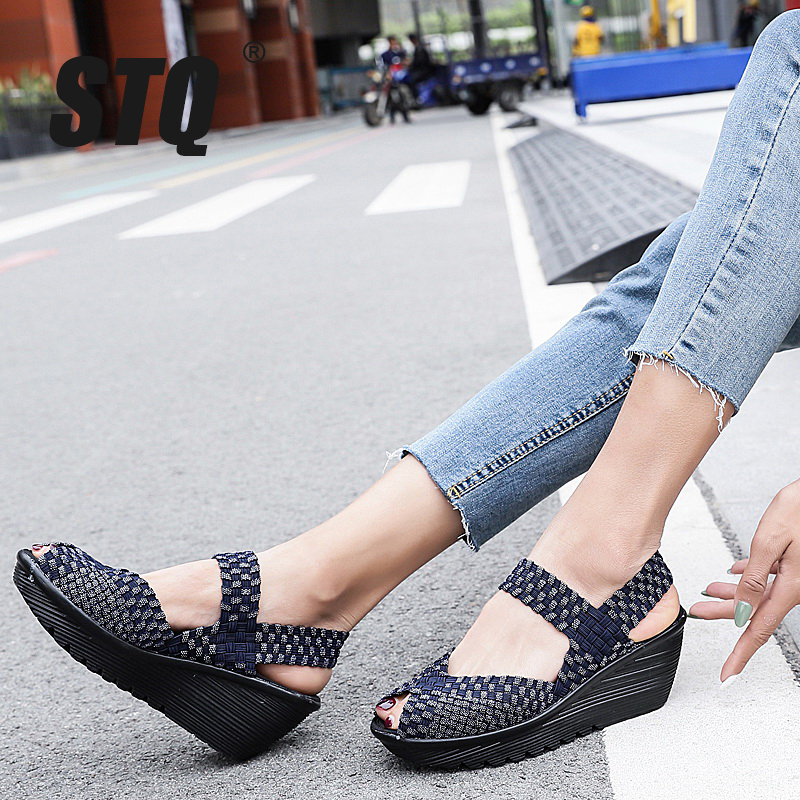STQ Wedge Platform Ankle-Strap Sandals Ladies Flat Women Flip-Flops Summer Shoes Middle-Heel