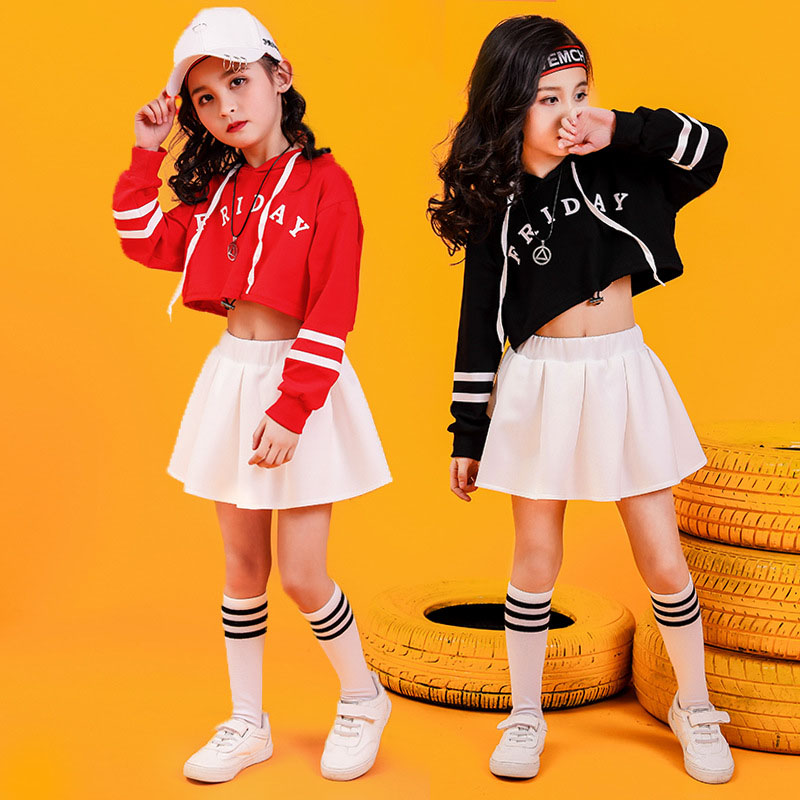 Children Hip Hop Clothing Cropped Hoodie Sweatshirt Shirt Tops Skirt White For Girls Dance Costume Wear Ballroom Dancing Clothes