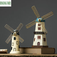 Nordic Retro Windmill Model Miniatures Holland Windmill Craft Gift Ornaments Home Living Room Desktop Decorations Toys Figurines