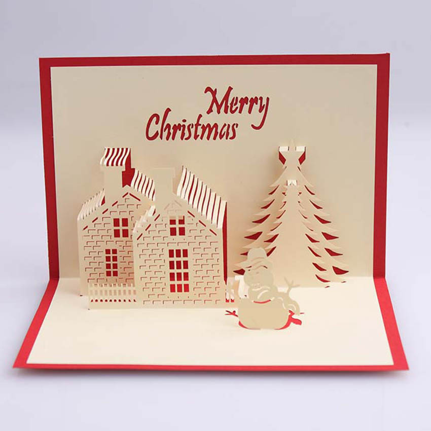 3d pop up handmade christmas tree house happy new yea beautiful 3d pop up handmade christmas tree house happy new yea beautiful greeting card in cards invitations from home garden on aliexpress alibaba group m4hsunfo