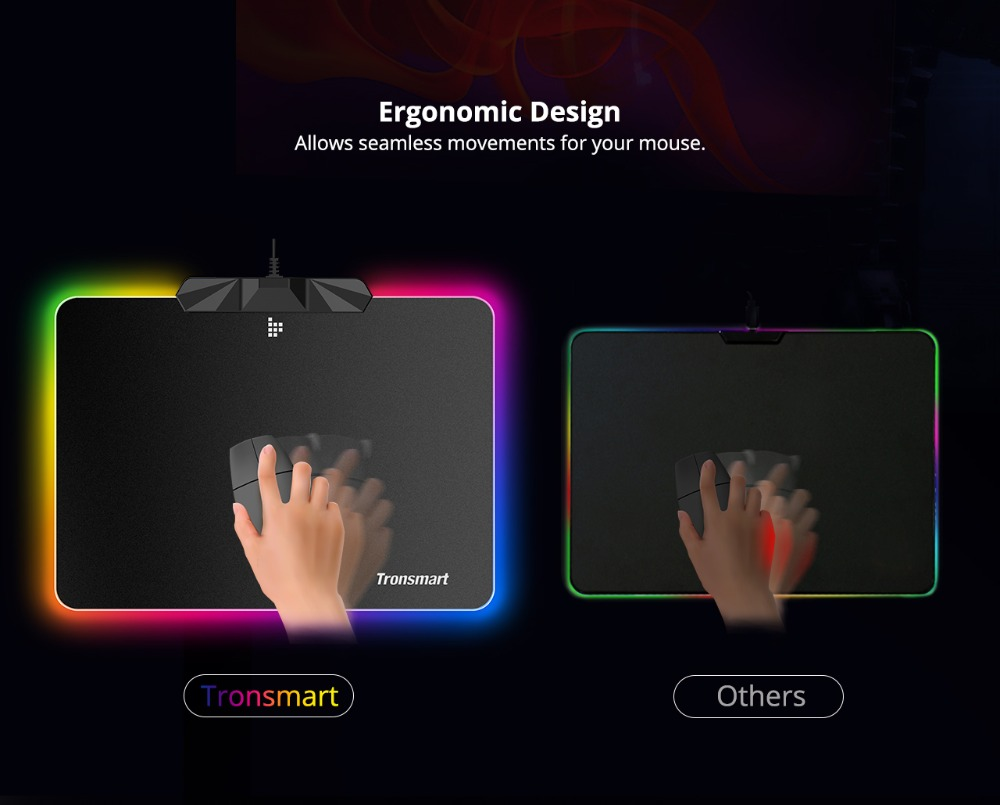 Tronsmart Shine X RGB Gaming Mouse Pad Compupter Mouse Pad Gamer USB Mat with 8MB flash memory,16.8 Million Colors,Touch Sensor 8
