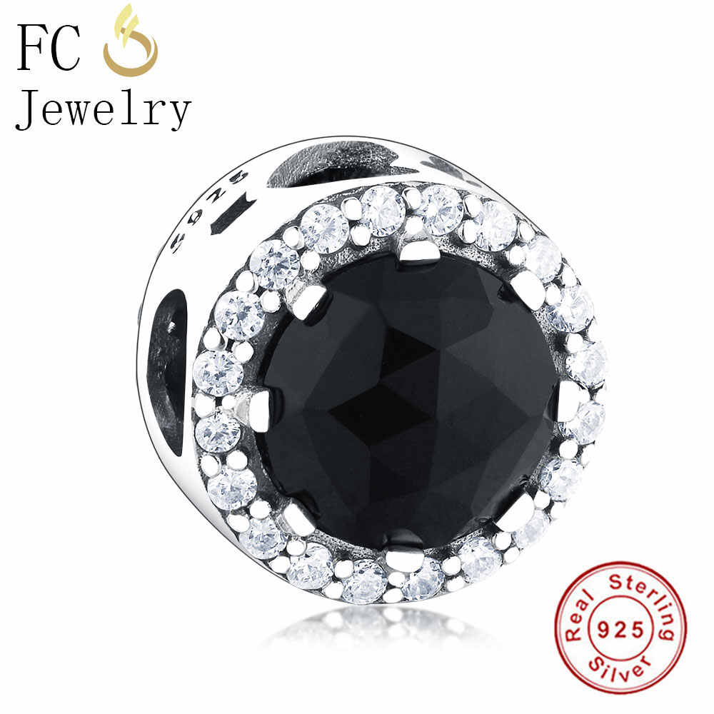 S925 Sterling Silver Belle's Radiant Black Charm Beads Clear CZ Fits Original Pandora Charms Bracelet DIY Jewelry Making Gifts