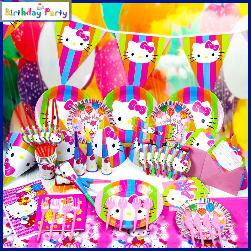 84PCS Childrens birthday party supplies Hello Kitty party