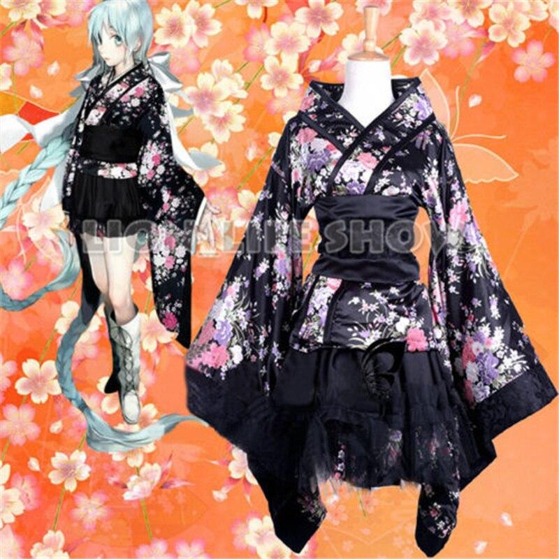 japanese anime vocaloid lolita sakura kimono black uniform