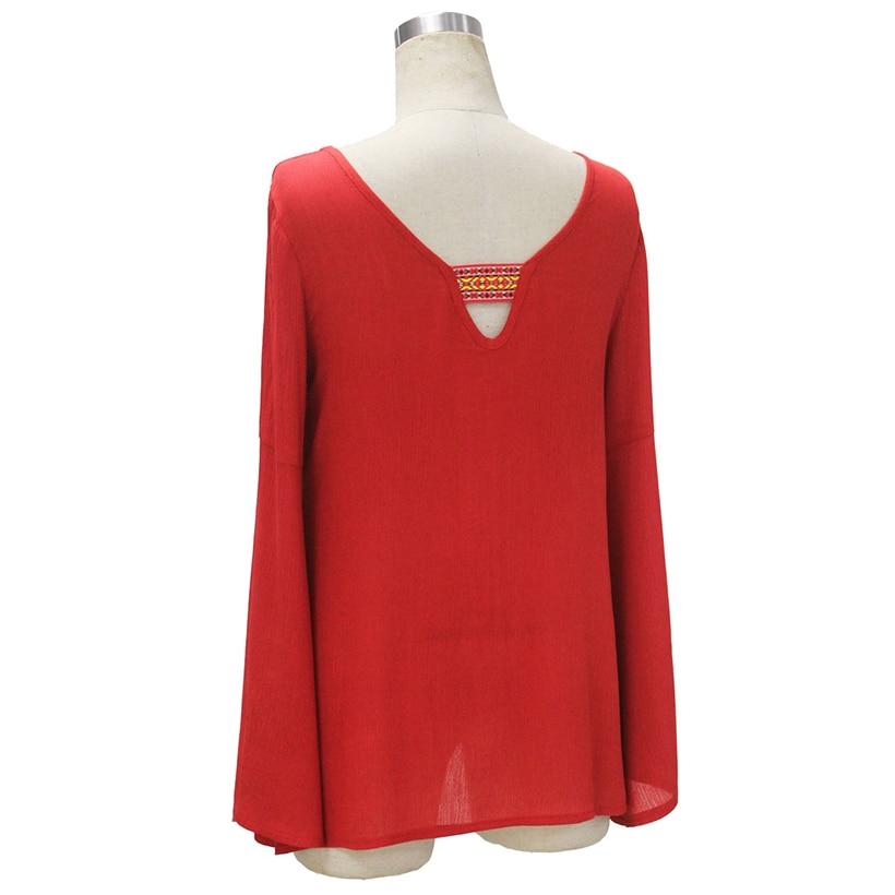 Mujeres Impreso Blusas de Gasa Camisa Roja de Manga Larga Blusa Delgada Camisa de Verano  Elegante Casual Camisa Larga Blusa de Las Mujeres Tops