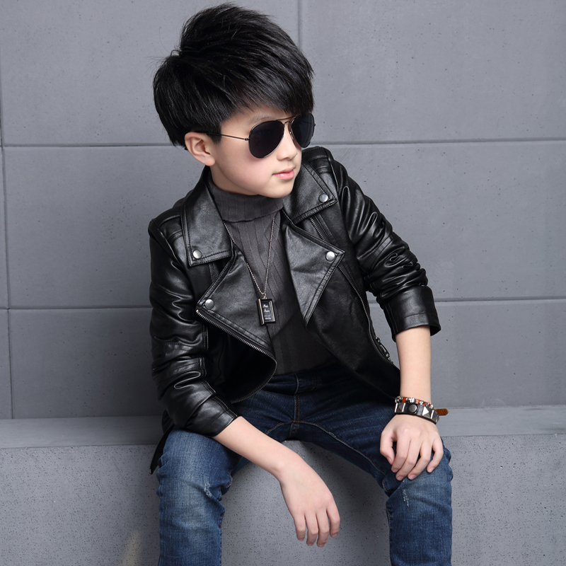Kids boys 2016 new spring fashion leather coat children autumn tide handsome boy jacket leather jacket 84665 leather jackets children spring baby boy jacket faux leather boy outerwear casual kids coat fashion boy coat fashion