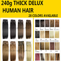 240 g/set 26 cores disponíveis Frete Grátis GROSSO Cabeça Cheia remy Brasileiro Do Cabelo Humano de seda macia Clipes Em/sobre extensões