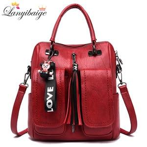 3-in-1 Women Backpacks Vintage Female Shoulder Bags Soft Leather Backpack Ladies Travel Back Pack Luxury Bags for Girls Mochila(China)