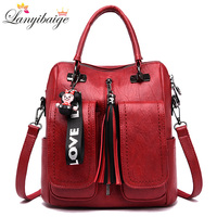 3 in 1 Women Backpacks Vintage Female Shoulder Bags Soft Leather Backpack Ladies Travel Back Pack Luxury Bags for Girls Mochila