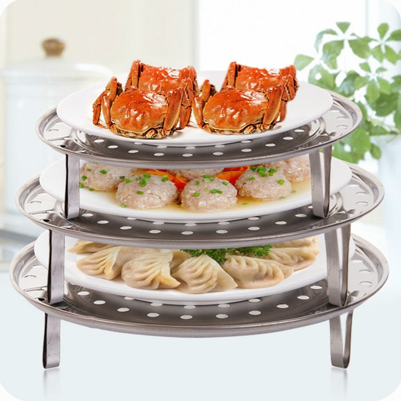 New Removable Stainless Steel Steamer Pot Steam Rack Steaming Tray Stand Steamed Dish Cookware Tool Kitchen Accessories