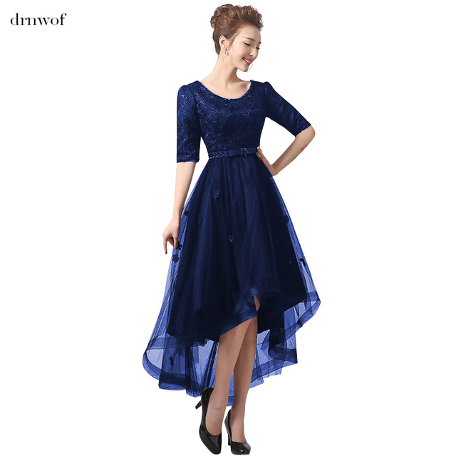 Exceptionnel Half Sleeve Scalloped Neck Cocktail Dresses 2017 New Hi Lo Women Cocktail  Party Black Royal