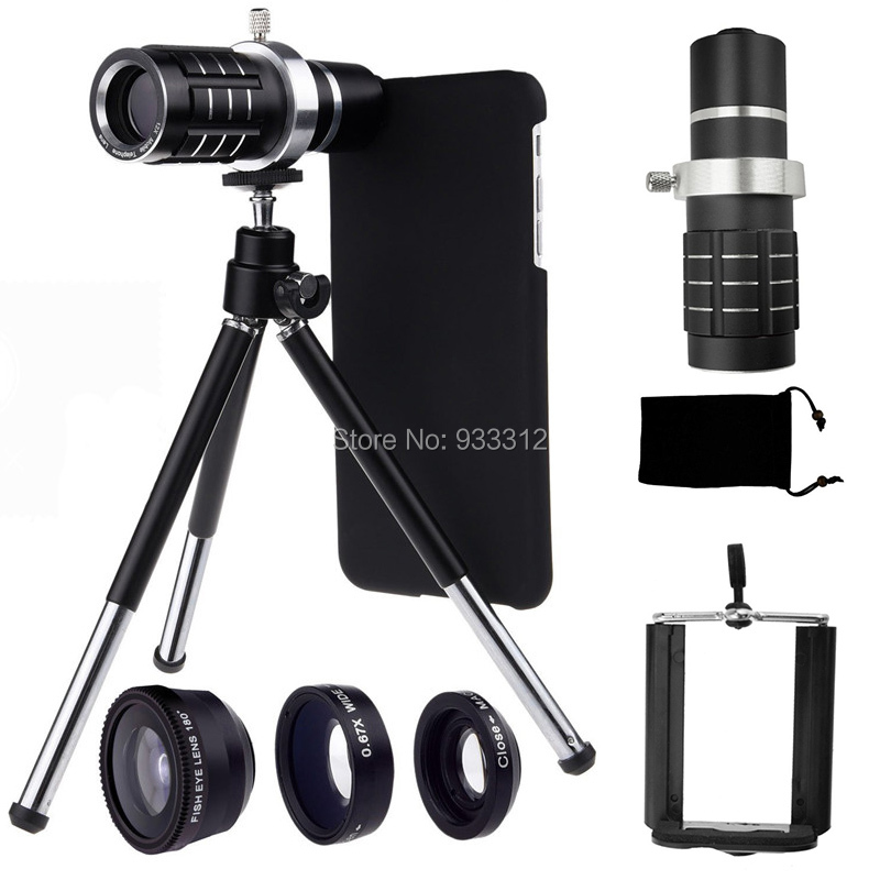 Gift 12x Telephoto Lens Fisheye Macro Wide Angle Holder Hard Case Bag Cleaning Cloth Holder Tripod