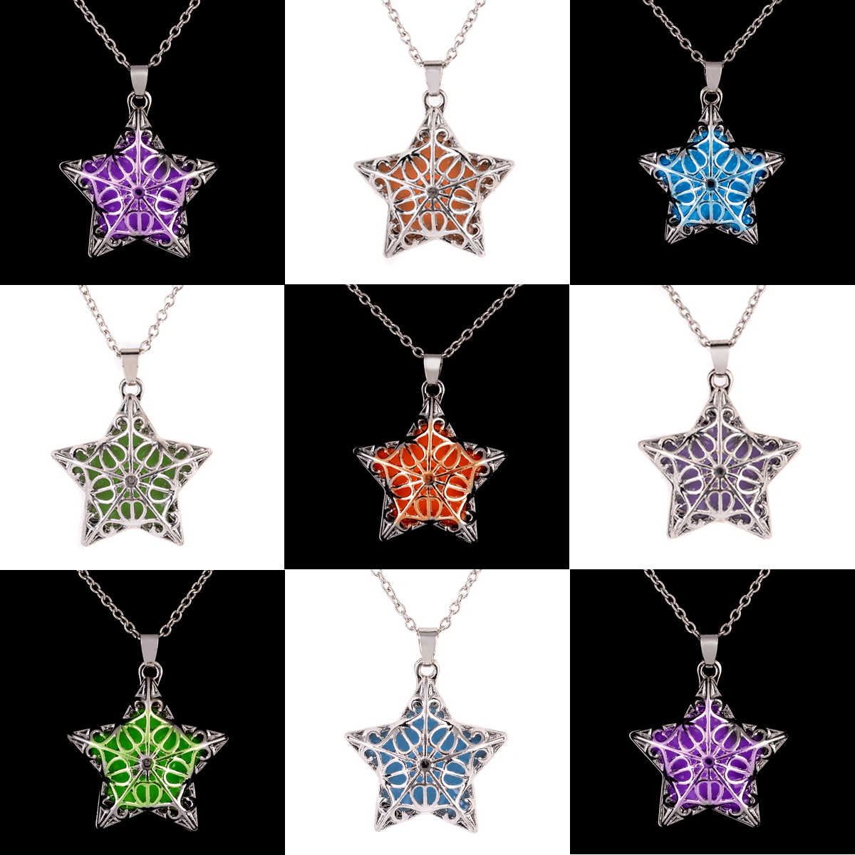 Glow In the Dark Necklace Silver Plated Luminous Stone Loket Hollow Star Steampunk Choker Statement Pendant
