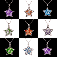 Glow In the Dark Necklace Silver Plated Luminous Stone Loket Hollow Star Steampunk Choker Statement Pendant Necklace Jewelry