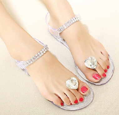 c00882c6c6e15 Summer new diamond female sandals flat peach heart with clip toe plastic  flat transparent crystal jelly shoes sandals