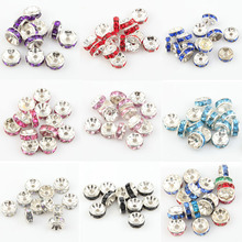 Wholesale 100pcs Rondelle Rhinestone Crystal Spacer Beads lace Flower beads for Jewelry Making 8mm, Hole is about 1.5mm