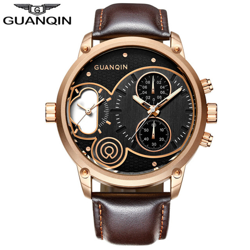 Big Dial GUANQIN Brand Luxury Watches Men Chronograph Millisecond Waterproof Leather Male Quartz Sports Men Luminous WatchBig Dial GUANQIN Brand Luxury Watches Men Chronograph Millisecond Waterproof Leather Male Quartz Sports Men Luminous Watch