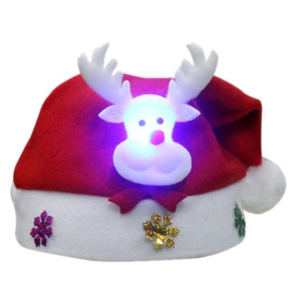 HOT SALE Elk pattern with LED lights children hat cap Christmas cap size: 30 * 25cm