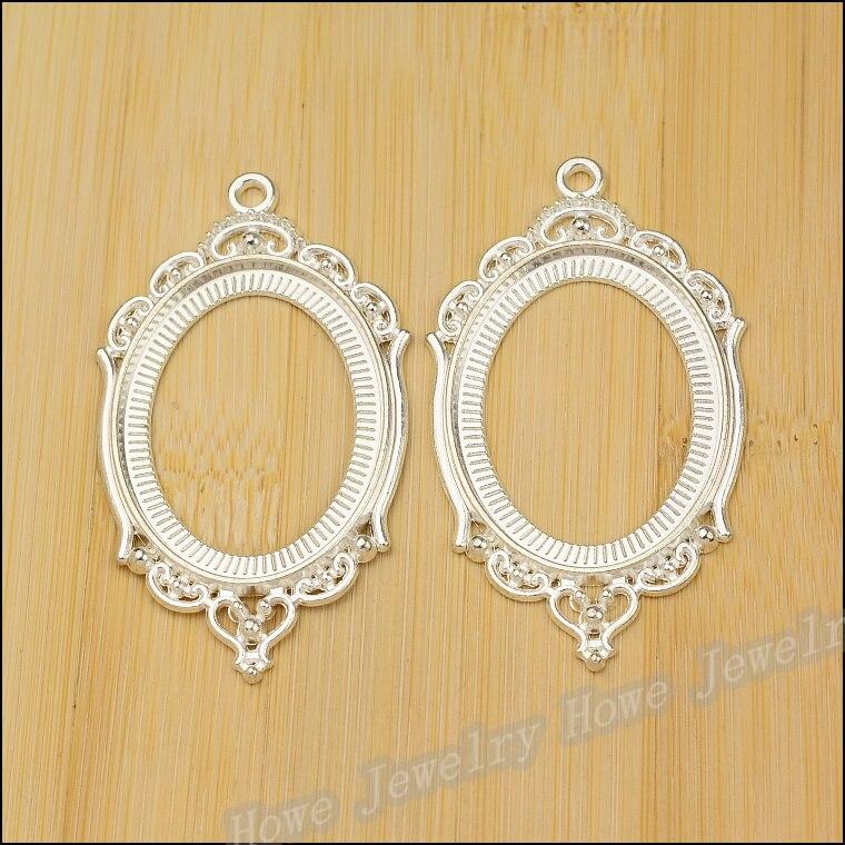 ΞAl por mayor 10 unids vendimia Amuletos marcos redondos plata ...