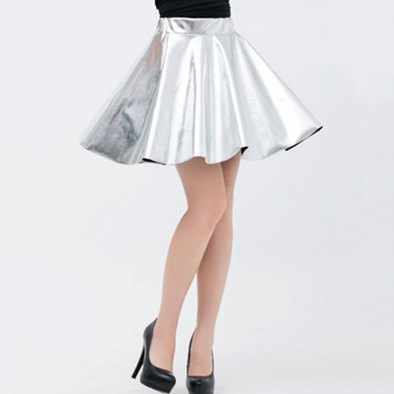 2018 sexy Women pleated skirts Shiny Metallic Wet Look Skater Flared solid color Short Pleated Mini Skirt ladies girl jupe femme
