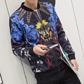 New 2016 autumn chinese style fashion colorful flower print bomber jacket men veste homme men's clothing size m-4xl JK3-3