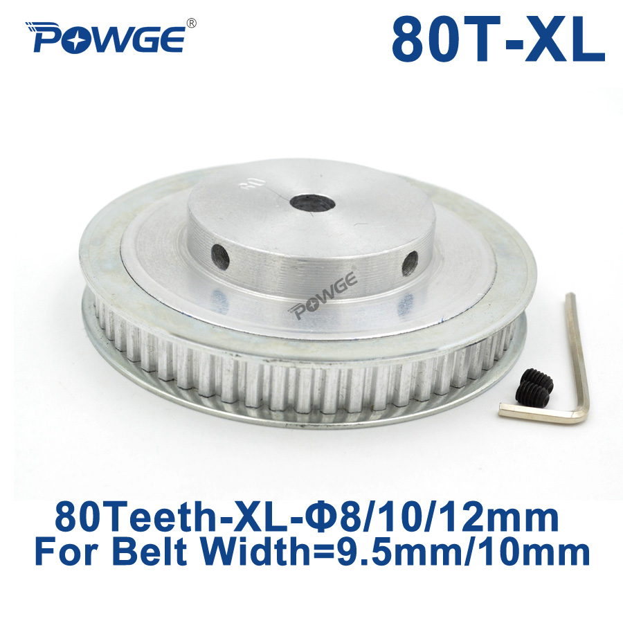 POWGE Inch Trapezoid 80 Teeth XL Synchronous pulley Bore 8/10/12mm for width 9.5mm Timing  Belt 80-XL-037 BF 80teeth 80TPOWGE Inch Trapezoid 80 Teeth XL Synchronous pulley Bore 8/10/12mm for width 9.5mm Timing  Belt 80-XL-037 BF 80teeth 80T
