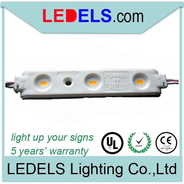 100POCS/LOT,5 YEARS warranty ,CE ROHS UL LISTED 1.2w 12v 120LM 3leds 5630 samsung led module lights for signage outdoor