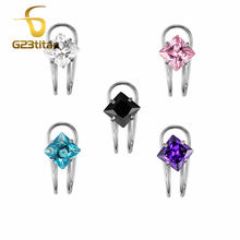 G23titan 316L Stainless Steel Clip Earrings 7mm Square Zircon Women Girls Simple Ear Jewelry NO Piercing(China)