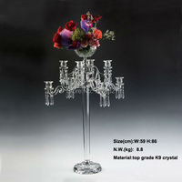 wedding candle holder centerpiece 86cm height crystal candelabras with crystal pendants