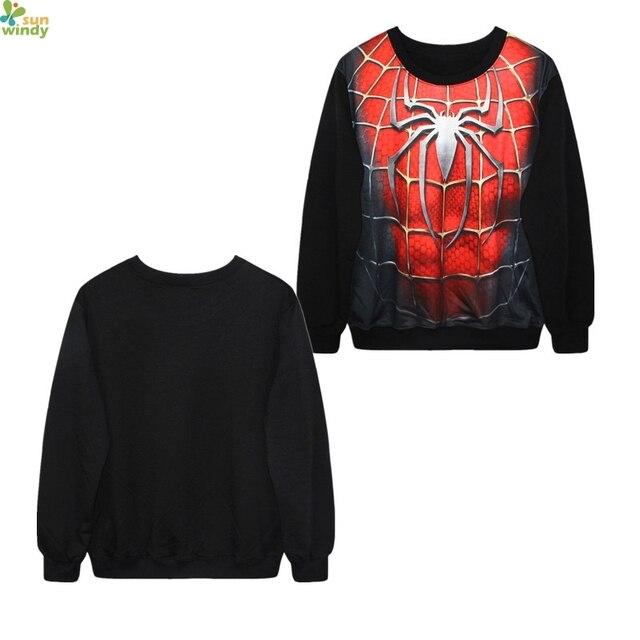 55cb70ca Spider-Man 3 Hip Hop Hoodies Spiderman Men's Training Sweatshirts Autumn  Loose Exercise Sweater Black Sport Suit Red Men's Tops