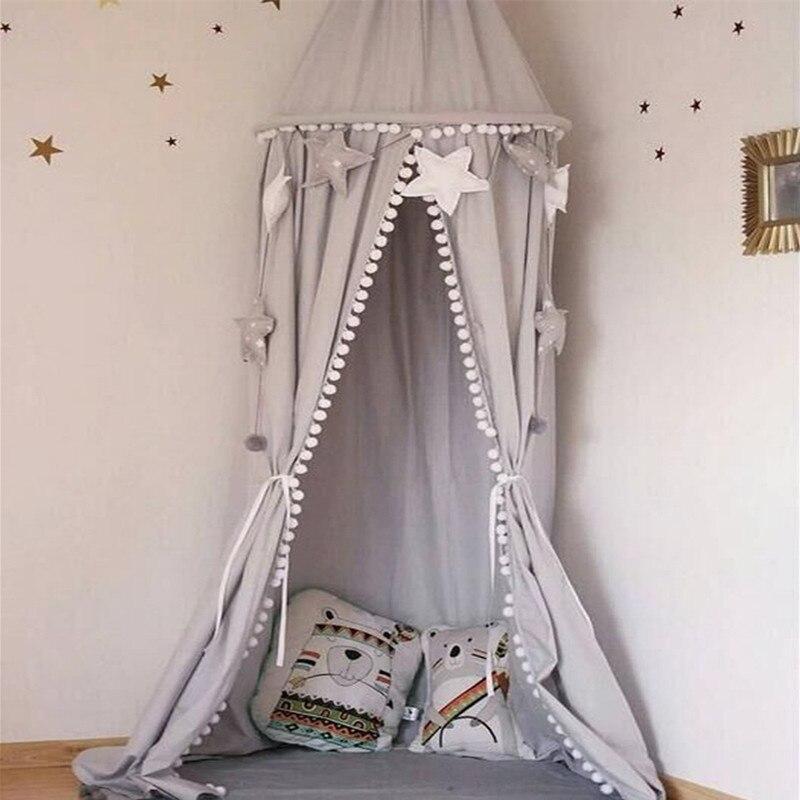 Crianças berço cama do bebê pompons dossel, cúpula redonda pendurado valance crianças jogar tenda mosquiteiro cortina decoração da sala branco cinza rosa