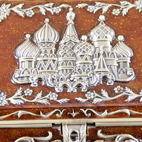 Size L Vintage Jewellery Case Fashion Jewelry Box Russian Style Zinc alloy Metal Trinket Box Bronze