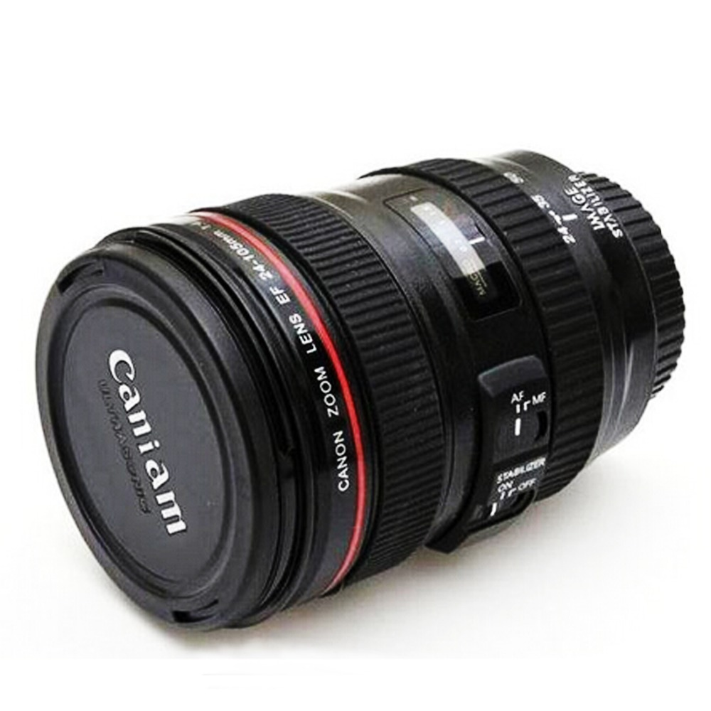 Factory Price Stainless Lens Camera Lens Cup 24 105mm Travel Coffee Mug cup Thermos Tea