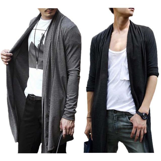 Outono e Primavera Camisola Dos Homens do Estilo Coreano Dos Homens de Cor Sólida Cardigan Cardigans Casual Moda Blusas de Manga Longa Para Homens