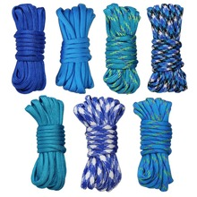 7pcs Blue Paracord Bracelet Cord Lifeline Parachute Rope Outdoor Survival Safe Rope Set DIY Hand Woven Hiking Accessories 3m outdoor emergency surviving quick release parachute hand rope cord bracelet w whistle blue