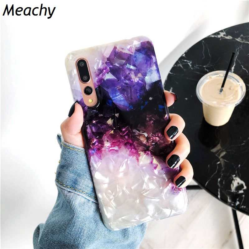 Meachy Gradient Crystal Conch Shell Phone Case For Huawei P30 P20 Pro Mate 20 Pro Honor 10 Luxury Purple Soft Case Cover Funda